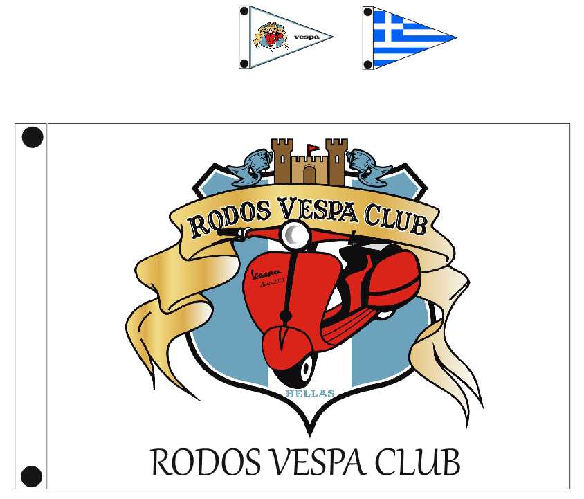 custom flags for VESPA CLUB RODOS
